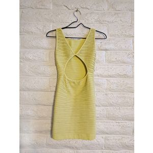 BCBG | textured citron yellow mini dress xs/s euc